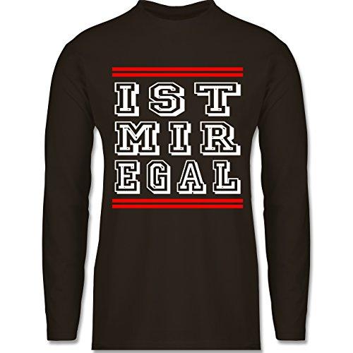 Statement Shirts - IST MIR EGAL - Longsleeve / langärmeliges T-Shirt für Herren Braun
