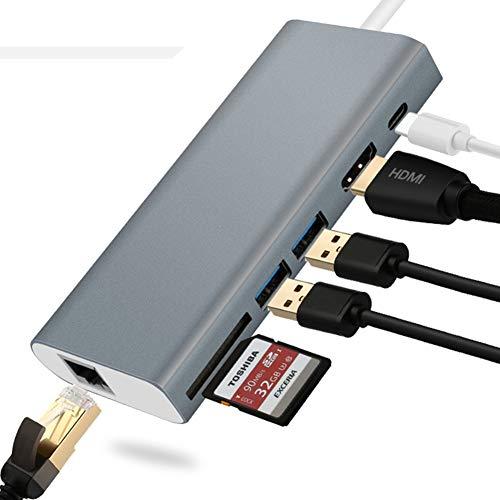 AXELEL Hub di aggancio Adattatore USB C 6 in 1, Tipo C Convertitore HDMI da 3 a 4K UHD Thunderbolt con 2 USB 3.0, Lettore di schede TF, Alimentazione 60W, Porta Ethernet 1000Mb per MacBook PRO