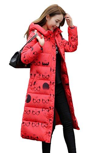Bigood Femme Manteau Hiver Blouson Longue Doudoune Rembourré Chaud Parka Slim Avec Capot Imprimée Lunette Rouge