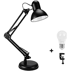wafting Swing Arm Desk Lamp, Table Lamp, Extra LED Bulb & Clamp, Metal Structure, Adjustable Shade posizione, archi tect Lamp for Office/Home/Dorm Blac