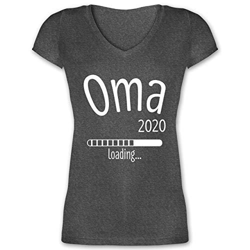Oma - Oma 2020 Loading - L - Anthrazit meliert - XO1525 - Damen T-Shirt mit V-Ausschnitt