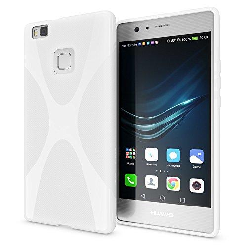 Huawei p9 lite cover custodia protezione di nalia, ultra-slim case resistente protettiva cellulare in silicone gel, gomma morbido bumper copertura sottile per smart-phone - x-line bianco