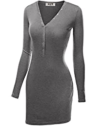 DJT Femme Robe Midi Long Moulante slim fit V-cou Stretch Manches longues