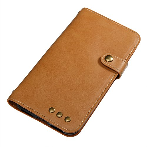 Custodia iPhone X, iPhone X Cover Wallet, SainCat Custodia in Pelle Flip Cover per iPhone X, Ultra Sottile Anti-Scratch Book Style Custodia Morbida Cover Protettiva Caso PU Leather Custodia Libretto A Cachi