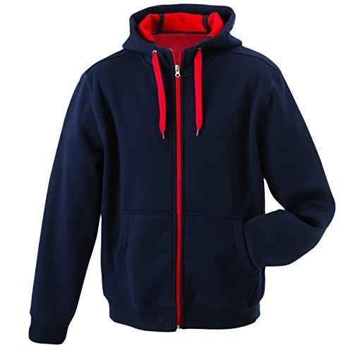 JAMES & NICHOLSON - sweat - veste sportive à capuche - ouverture zippée - intérieur polaire - JN354 - Femme bleu marine - rouge