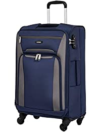 Amazon Brand - Solimo 68.5 cms Softsided Suitcase with Wheels and TSA Lock, Blue