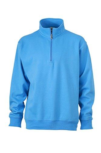 JAMES & NICHOLSON Sweatshirt mit Stehkragen und Reißverschluss Aqua