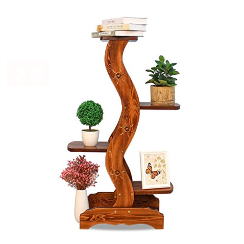 BOBE SHOP- Support de fleurs en bois massif Étage à plusieurs étages Étagère en pot de terrasse en bois massif Étagère en fleur fleur verte Salon Étagère en chlorophyte ( taille : 45*28*103cm )