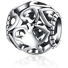 nykkola joyas Hollow Corazón Amor redondas plata de ley 925 Charm perlas Fit Pandora Pulsera