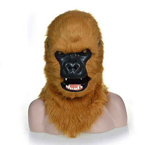 RONGLINGXING Brown Gorilla Head Mask, Maskerade Halloween Karneval Geburtstagsparty Kostüm Realistische Handmade Customized Animal Cosplay Moving Mouth mit Fell verziert (Realistische Gorilla Kostüme Erwachsene)
