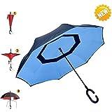 Aigumi Parapluie coupe-vent pliable Design innovant inversé Double couche et protection solaire, bleu et noir