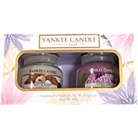 Coffret cadeau de 2 bougies parfumées en pot Yankee Candle, fragrances Soft Blanket et Lovely Kiku