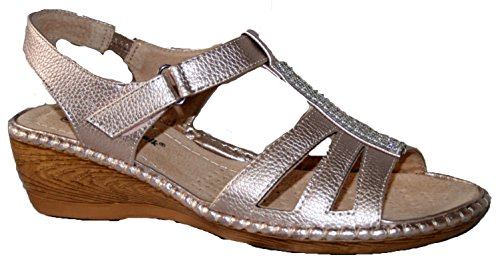 Sandales d'été à talon compensé légères Mesdames pewter diamante