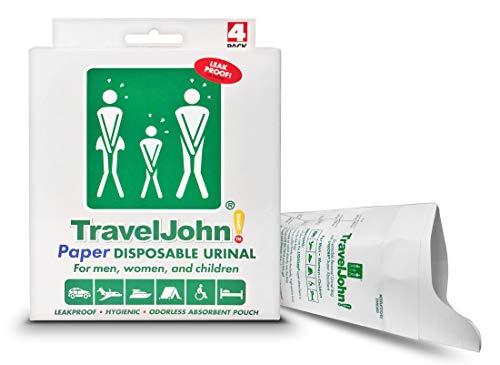 TravelJohn Unisex Einweg-Urinal aus Papier, 4 Stück