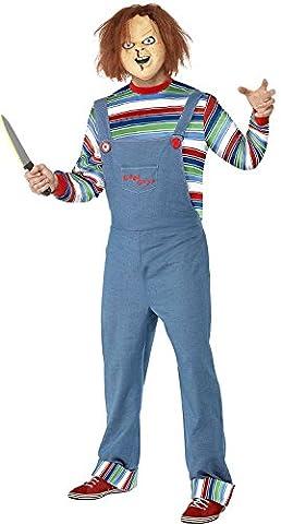 Herren Chucky Kostüm Lizensiertes Halloween Horror Kostüm Verkleidung Mit Maske - Blau, M / (Chucky Maske Kostüm)