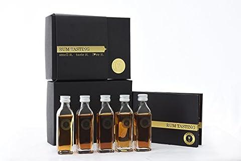 SPIRIT TASTING - Rum Tasting Paket (5x40ml) - Rum Probierpaket als Geschenkidee für Männer - Inkl. Beschreibung & Tastingset