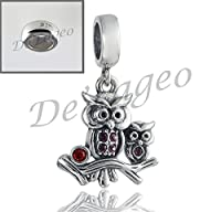 Free 925 Stopper Bead with 925 Sterling Silver Owls Dangle Charm Charm Bead.