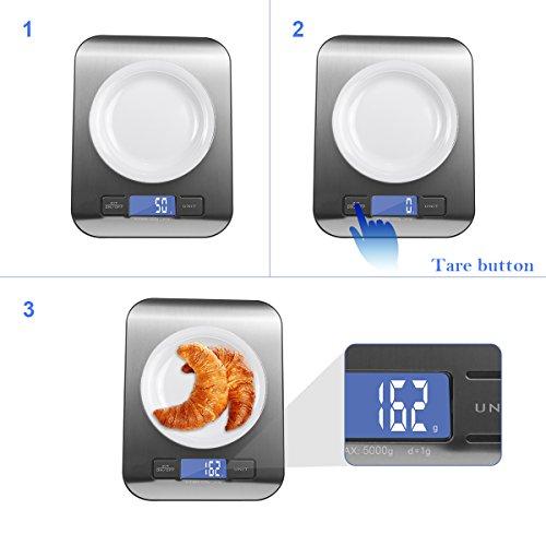 Bilancia digitale da cucina per max. 5 kg in acciaio inox, piatta ...