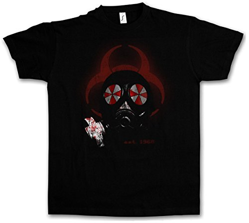 GAS MASK BIOHAZARD UMBRELLA T-SHIRT Resident Corporation masque à gaz Corp Evil Logo Nemesis Zombi Wesker Game Movie Taglie S - 5XL