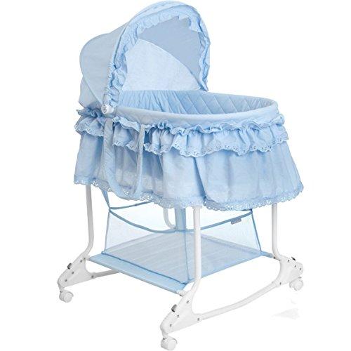 *Babywiege/Stubenwagen mit Schaukelfunktion (Abnehmbarer Babykorb) (Hellblau)*