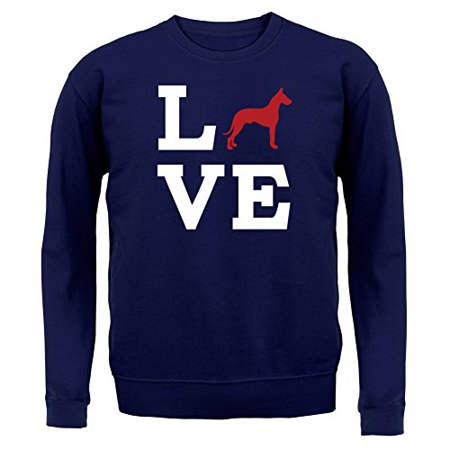 Love Great Dane Dog Silhouette - Unisex Sweatshirt / Sweater - 8 Colours