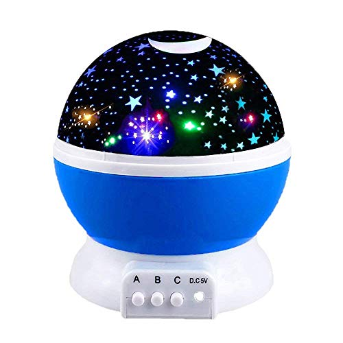 (Xiak Sternenhimmel projektor lampe,LED 360° Grad Rotation Romantische Sternenhimmel projektor für babys, kinder, geburtstage, weihnachten, halloween usw (blau))