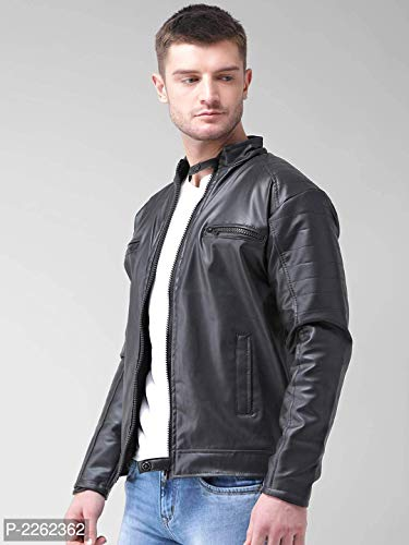 Generic Men's Faux Leather Biker Jacket (Black, Large)