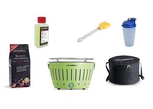 LotusGrill Barbecue Kit de démarrage 1x Lotus Barbecue charbon de bois de hêtre Vert citron 1x 1kg, 1x Pâte combustible 200ml, 1x Pinceau maïs jaune, 1x Shaker à vinaigrette, 1x sac de transport