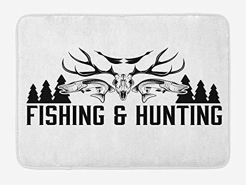 AoLismini Vintage Emblem Design Antler Horns Jagd, Jagd und Fischerei Fußmatten, Stockente, Kiefer, Plüsch Badezimmer Matte mit Antirutsch-Unterstützung, schwarz und weiß -