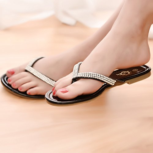 Kolnoo Damen Indoor Outdoor Flach Ballerinas Sandalen Simple Comfort Schuhe mit Schönen Strass Schwarz