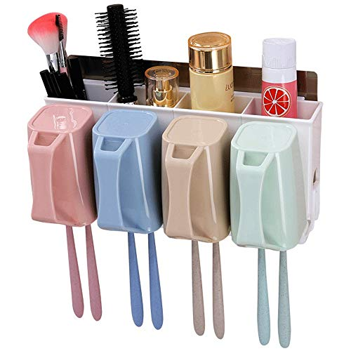 Bad Zahnbürstenhalter Zahnbürstenhalter, Wandhalterung, 4 Tassen, Aufbewahrungsset für elektrische Zahnbürsten, Kunststoff-Zahnbürstenhalter für Badezimmer, kein Bohren, Stand für elektrische Zahnbürs