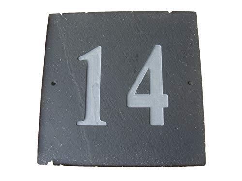 Numéro 14 naturel gris ardoise Maison Numéro de porte 15,2 x 15,2 cm Gravure profonde naturel Surface Plaque Maison réchauffement cadeau (150 x 150 mm) N ° 14