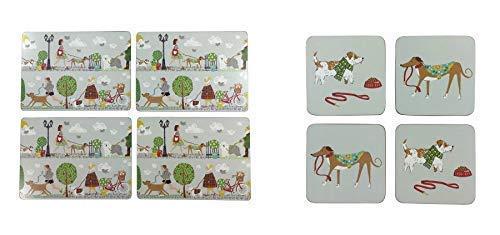 4er Set Hund Fußgänger Bäume Grau Rot Grün Hitzebeständig Kork Tischsets & Untersetzer (Rot Kork Tischsets)