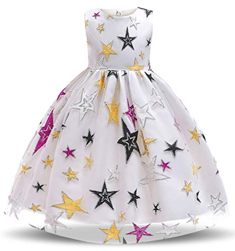 Nnjxd pentagramma stampato vestito da carnevale fancy costume per ragazze taglia(130) 5-6 anni bianca