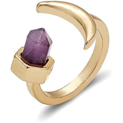 Mujeres forma hexagonal anillos de la joyería de piedra natural púrpura anillo abierto birthstone de febrero Luna Moda