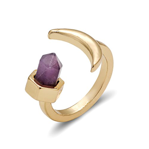 Frauen hexagonale Form Natur Lila Stein Open Ring Februar birthstone Mond Modeschmuck Ringe (Kostüm Einfach Natur Mutter)
