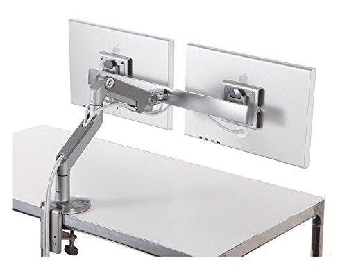 HumanScale M8 Dual Monitor Arm mit Querstange mit integrierter Klemmhalterung Silber -