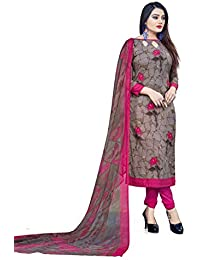 Hanoba Brown Leon Printed Synthetic Unstitched Dress Material For Womans And Girls