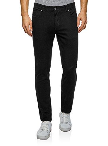 oodji Ultra Herren 5-Pocket-Stil Hose Slim Fit Schwarz (2900N)