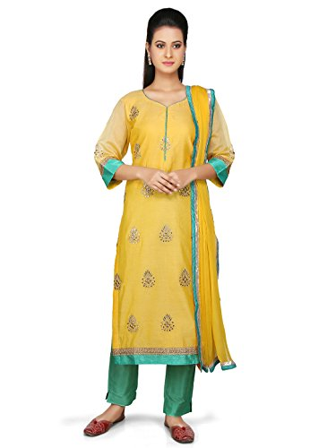 Utsav Fashion Embroidered Straight Cut Chanderi Cotton Suit in Yellow Color