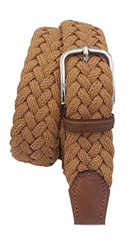 Extra langer geflochtener Baumwollgürtel - weich und leicht, Lederverarbeitung und nickelfreie Schnalle - Unisex 3,5 cm Größen von 135 bis 170 cm (Cognac, Größe Hosen 56-145 CM-130 CM WAIST)