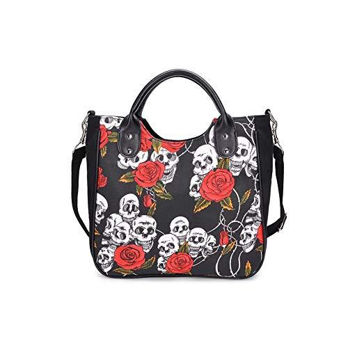 Fishbag Taschen Handtaschen Umhängetasche Canvas Tasche Skelett Rose Große Schwarz Coole Trend taschen für Schule Damen Shopper (Skelett Rose Schwar)