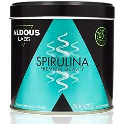 Espirulina Ecológica Premium para 165 días | 500 comprimidos de 500mg con 99% BIO Spirulina | Vegano + Saciante + Proteína + DETOX | Libre de Plástico | Certificación Ecológica Oficial Ecocert y CAAE