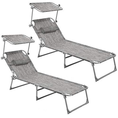 SONGMICS Sonnenliege, 2er Set, Liegestuhl, bis 250 kg belastbar, 193 x 63 x 32 cm, mit Sonnendach und Verstellbarer Rückenlehne GCB19T-2