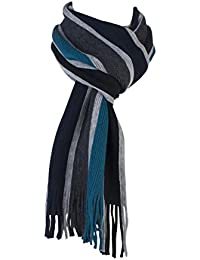 Mens Warm Knitted Luxury striped Winter scarf 8 Colours (Turquoise Grey Mix)