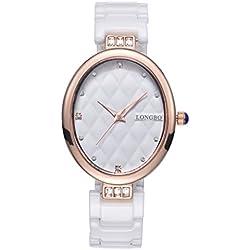LONGBO Womens Luxury Ceramic Band Business Bangle Watch Rose Gold Oval Case Bracelet Wrist Dress Watches Fashion Waterproof Lady Rhinestone Crystal Analog Quartz Luminous Hand Big Face Watches