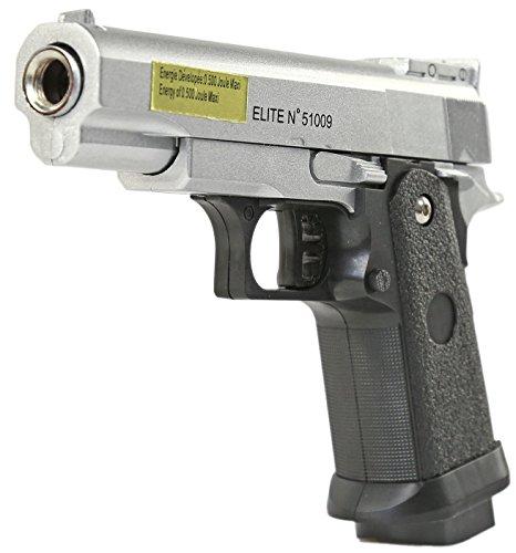 Nerd Clear Softair-Pistole Stahl Waffe Airsoft Vollmetall Munition Zubehör Markierer Metall schwarz 6 mm ABS ca. 16 cm ca. 320g unter 0,5 Joule ab 14 Jahren