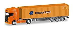 Herpa 066594-Vehículo, Scania R TL Contenedor de sillín Tren Hapag Lloyd