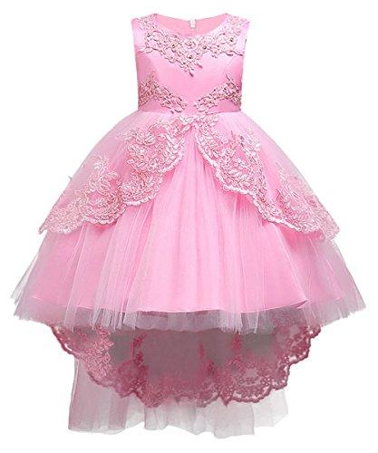 Kinder Prinzessin Brautkleid Hochzeitskleid Tüll Kleid Perlstickerei Lang Rosa Gr.110