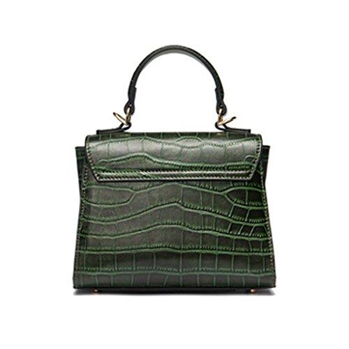 Mena UK Grain di coccodrillo dell'annata delle signore Prima strato di borsa della borsa della spalla del sacchetto di Tote di qualità del cuoio ( Colore : Nero , dimensioni : 20cm*16cm*10cm ) Verde